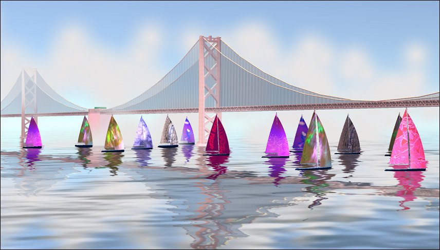 Regatta sails as an art gallery, for mixed reality