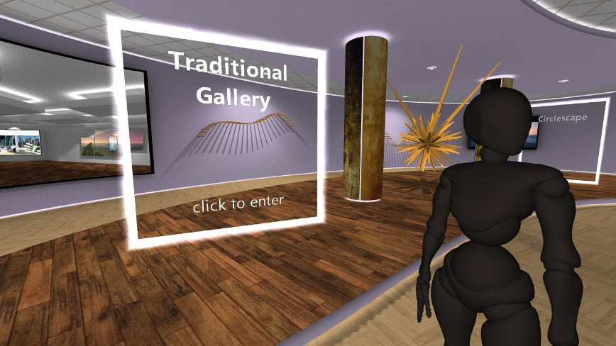 Portal to an art gallery in the metaverse, in VR